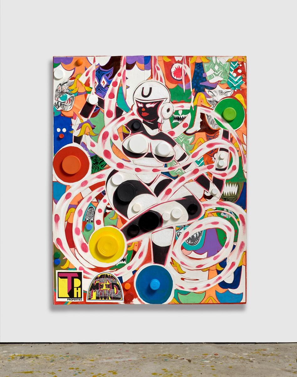 Trenton Doyle Hancock, Undom Endgle, Striped Goddess, Enhanced Soul, Slayer of Wolves, 2018, Acrylic with mixed media on canvas, 122.5 x 95.5 x 5.5 cm, 48 1/4 x 37 5/8 x 2 1/8 in