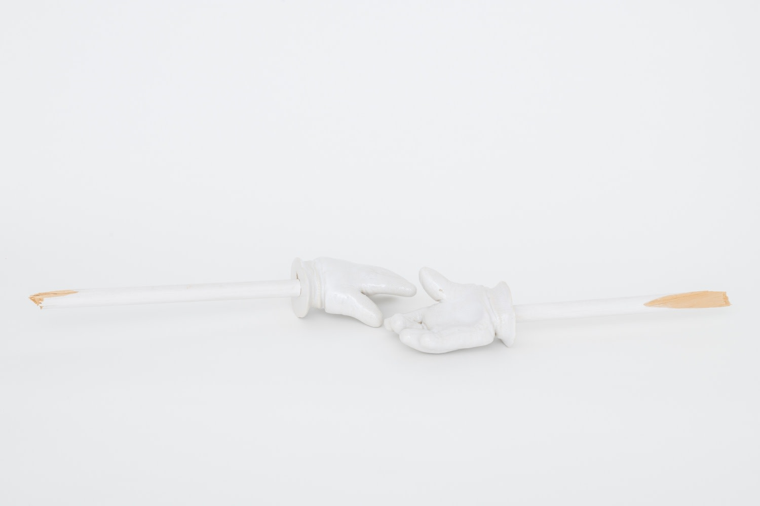 Richard Slee, Arms, 2016, Glazed ceramic with wood in two (2) parts, Part 1: 8 x 50 x 15.5 cm, 3 1/8 x 19 3/4 x 6 1/8 in, Part 2: 9 x 55 x 15.5 cm, 3 1/2 x 21 5/8 x 6 1/8 in