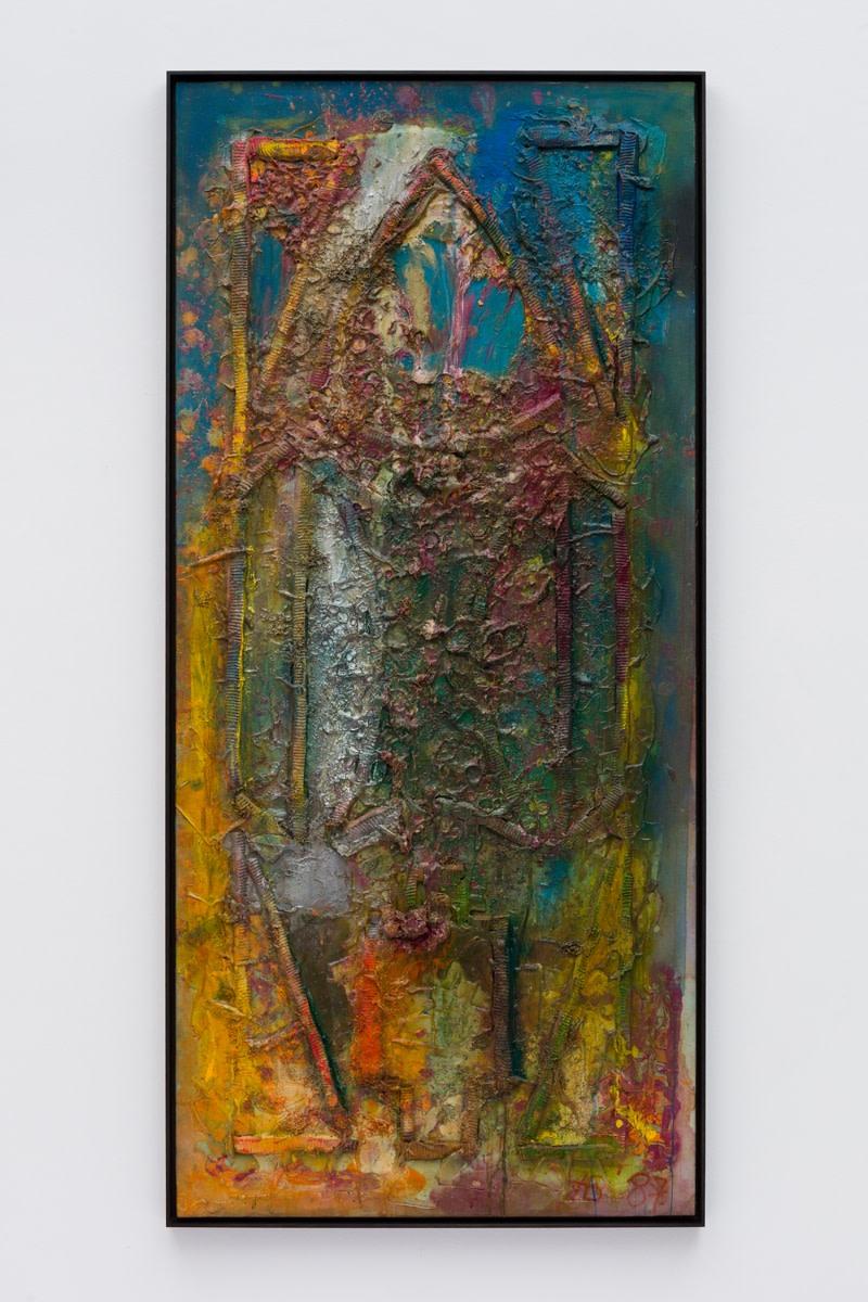 Frank Bowling Ancestor Window, 1987 Acrylic paint and acrylic gel over foam on canvas 188.4 x 86.1 cm 74 1/8...