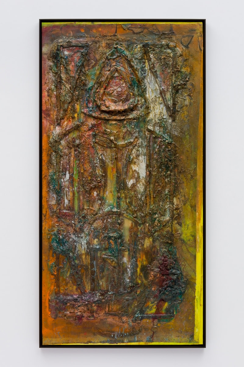 Frank Bowling B'hind th' Alter, 1987 Acrylic paint and acrylic gel over foam on collaged canvas 183.2 x 91.2 cm...