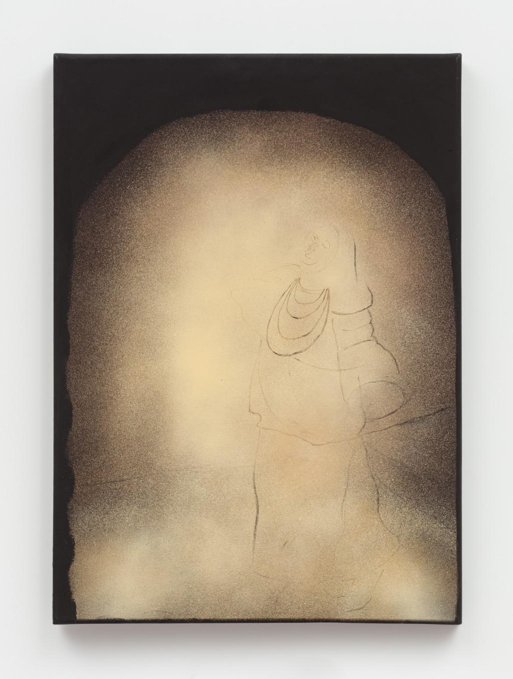 Curtis Talwst Santiago A Luz, 2018 Spray paint, oil, charcoal, pastel, acrylic on canvas 69.8 x 50.2 cm 27 1/2...