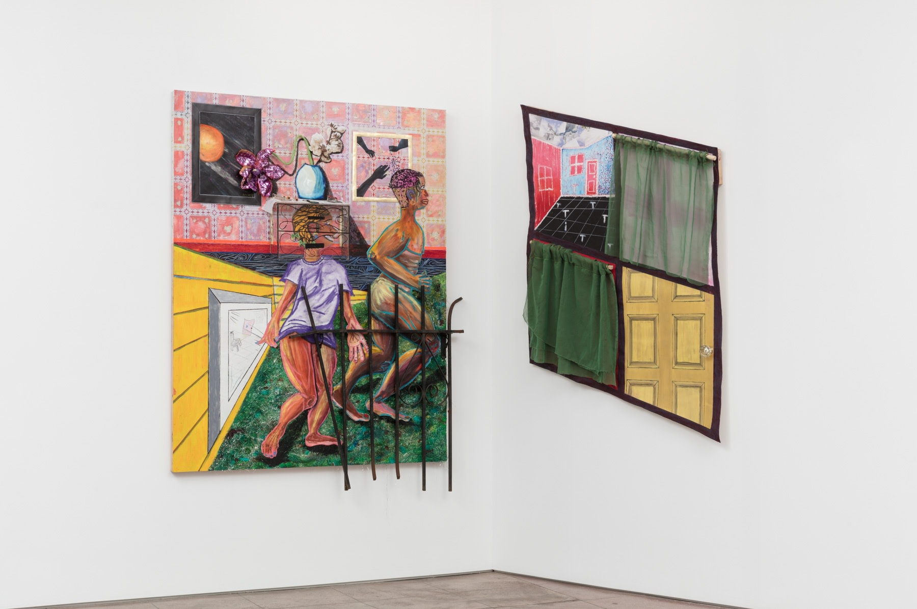 Devin N. Morris, 12:44 pm; And Then A Breeze Swept Across the Floor, Stirring Out The Window In Disbelief, 2019, Left panel: Acrylic, oil pastel, tensile, watercolor, iron gate, collage, plexiglass, leather, glass tray, plastic beads, plastic keychain, me