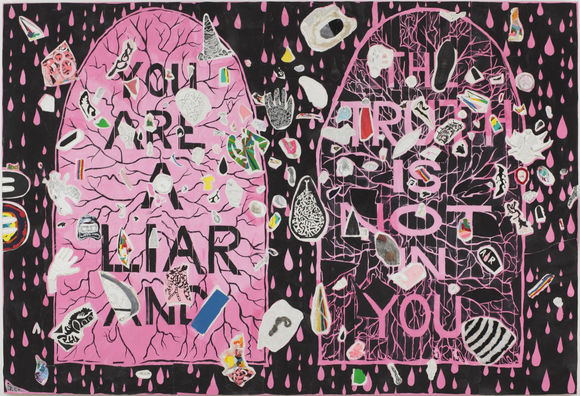 Trenton Doyle Hancock, You Are A Liar And The Truth Is NOT In You, 2010, Acrylic and mixed media on canvas, 228.6 x 335.3 cm, 90 x 132 in