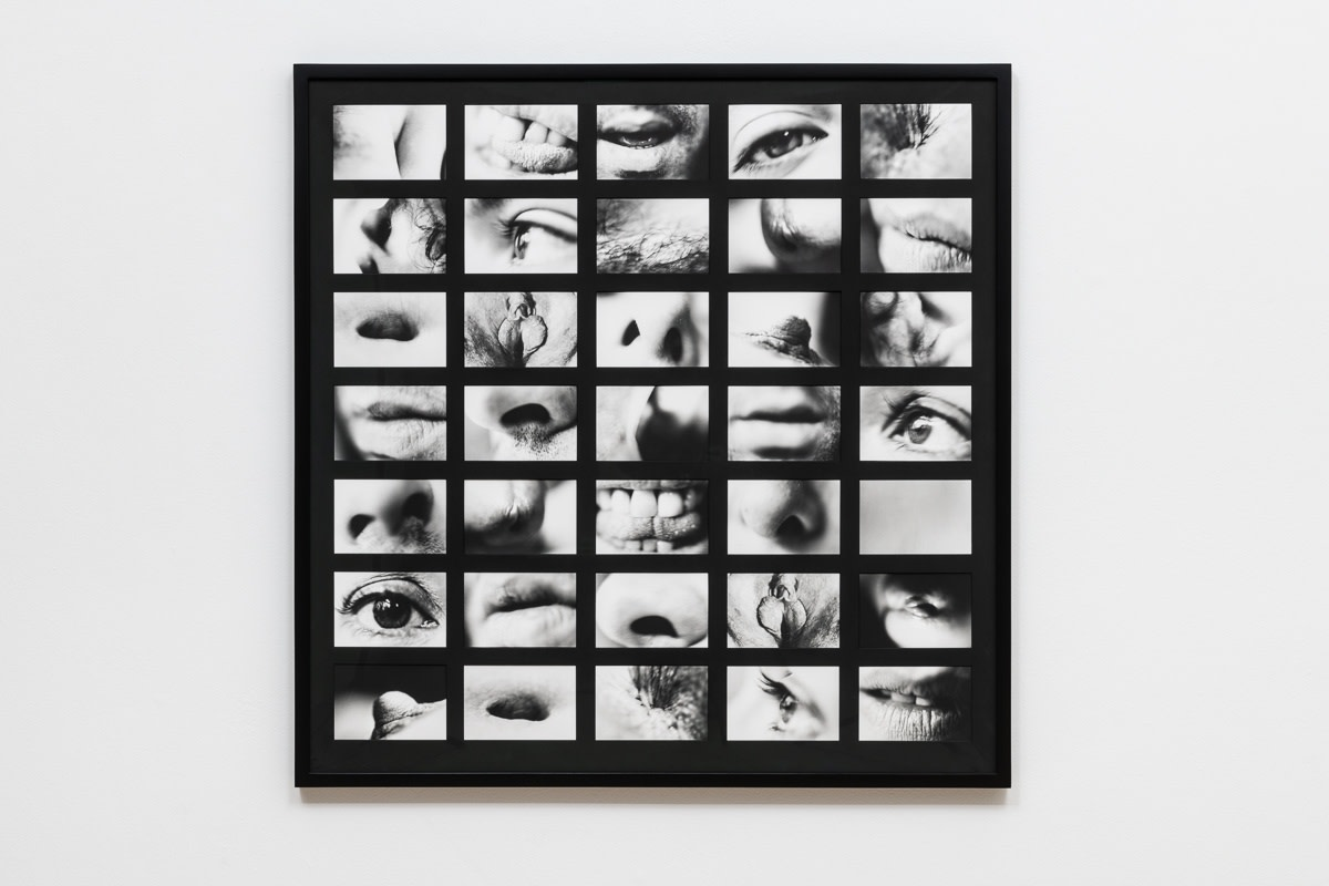 Carolee Schneemann, Portrait Partials, 1970/2007, Gelatin silver print in thirty-five (35) parts, 95.3 x 97.2 cm, 37 1/2 x 38 1/4 in