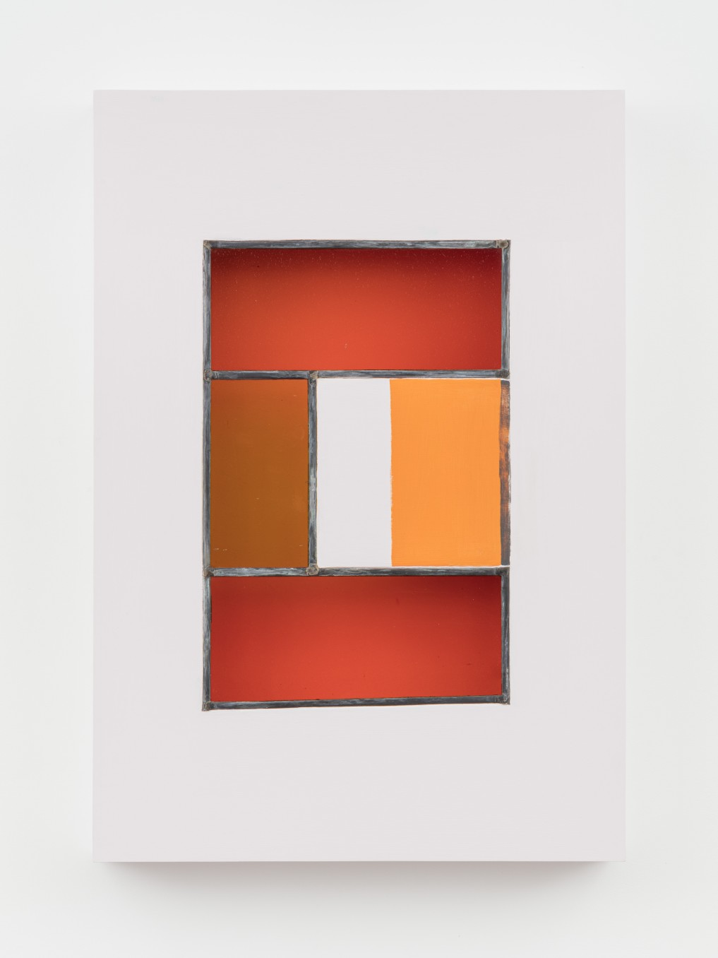 Jessica Warboys, HOUR II, 2019, Acrylic, antique glass, lead came, plywood, 87 x 59.7 x 8.9 cm, 34 1/4 x 23 1/2 x 3 1/2 in