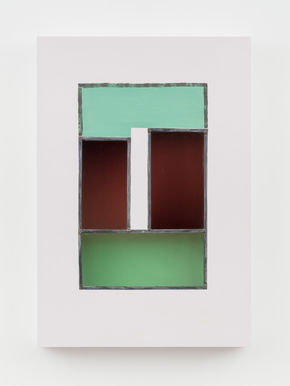 Jessica Warboys, HOUR III, 2019, Acrylic, antique glass, lead came, plywood, 87 x 59.7 x 8.9 cm, 34 1/4 x 23 1/2 x 3 1/2 in