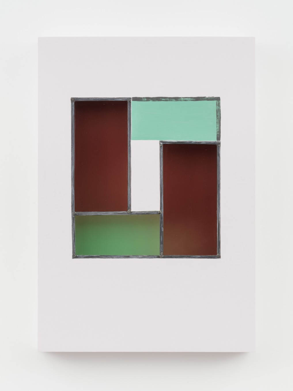 Jessica Warboys, HOUR IV, 2019, Acrylic, antique glass, lead came, plywood, 87 x 59.7 x 8.9 cm, 34 1/4 x 23 1/2 x 3 1/2 in