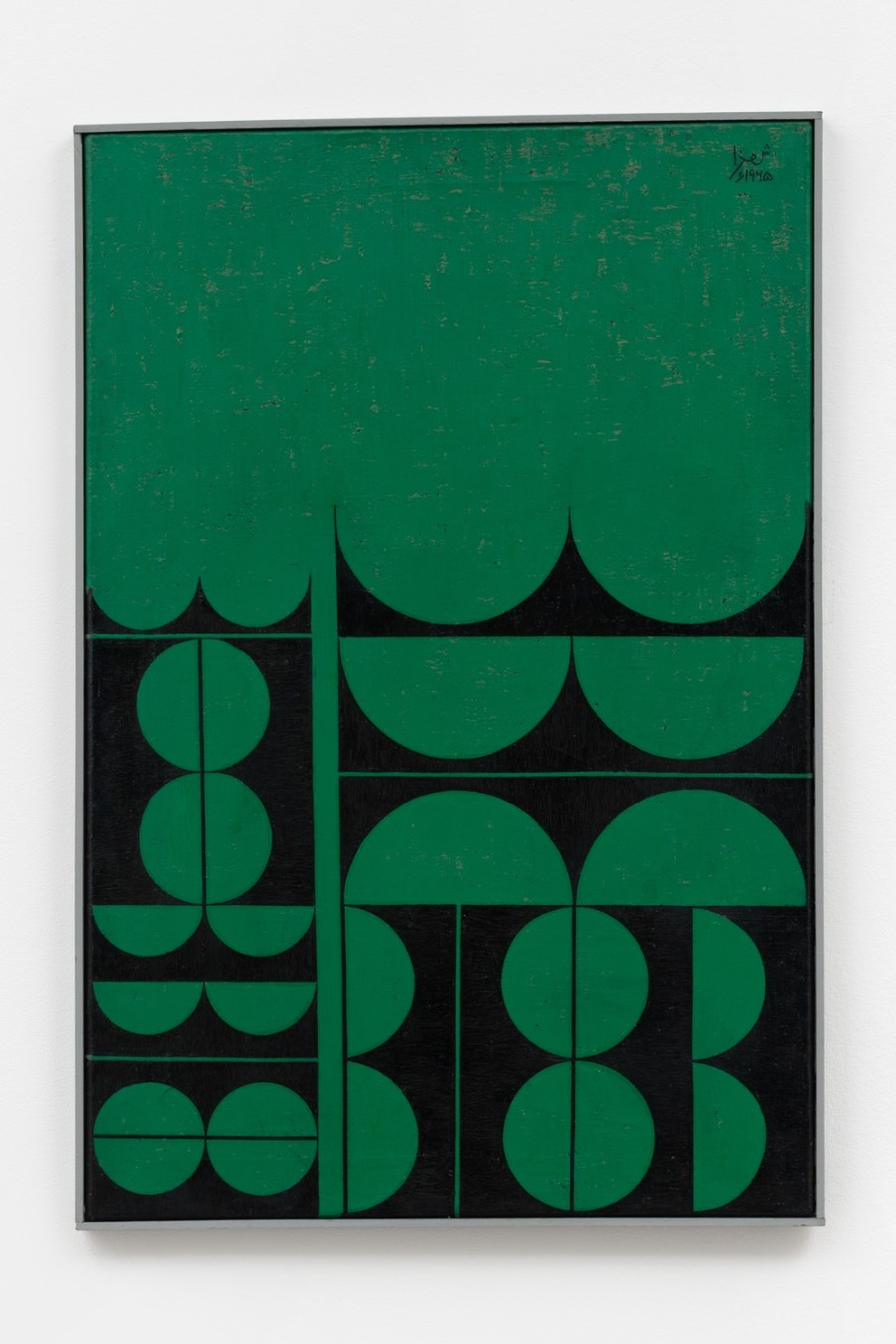 Anwar Jalal Shemza Composition in Green and Black, 1965 Oil on canvas 77.3 x 52.2 cm 30 3/8 x 20...