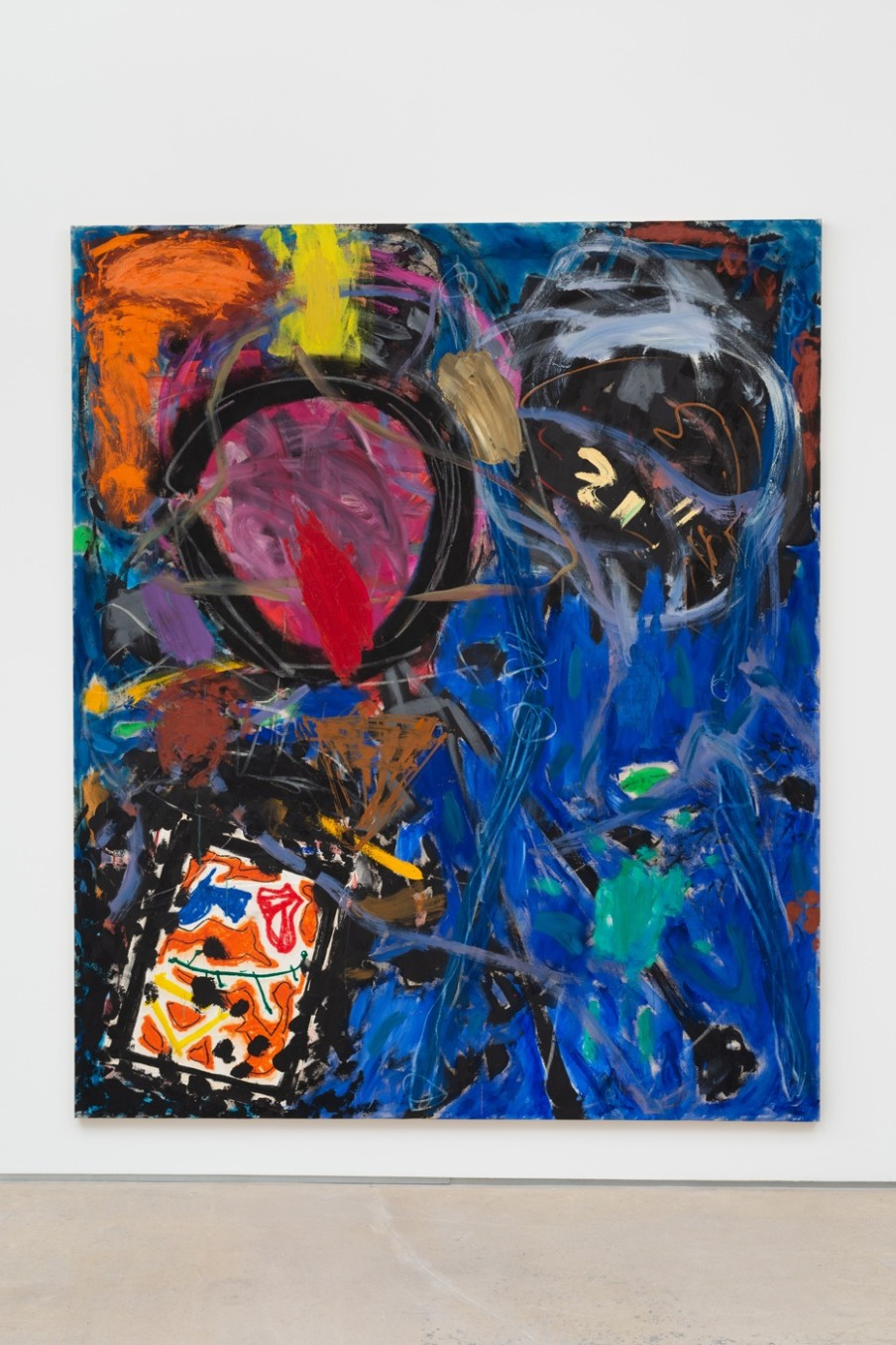 Basil Beattie, Blue Joy, 1982, Oil and collage on canvas, 254.5 x 212.4 cm, 100 1/4 x 83 5/8 in
