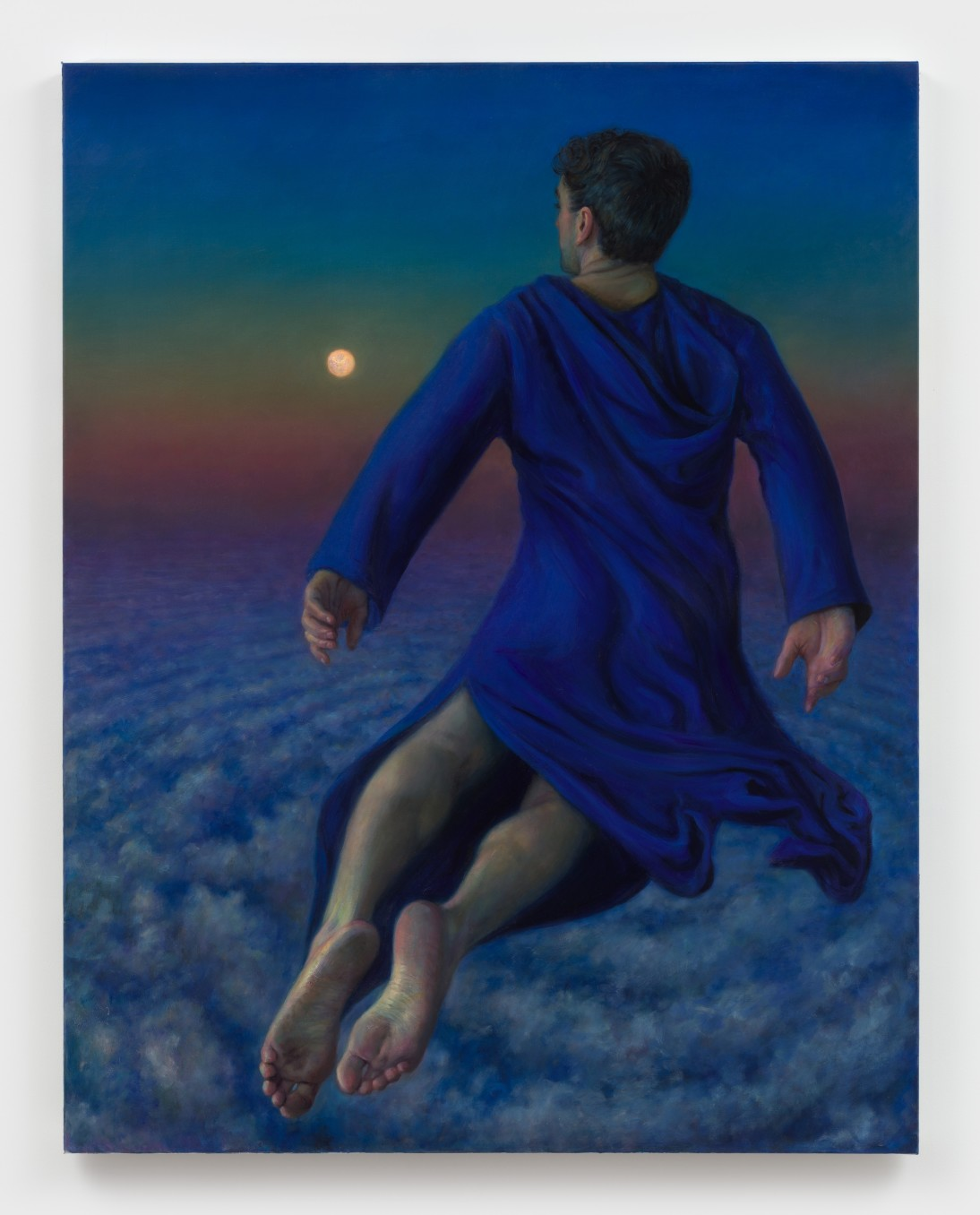 TM Davy, flying dream (man and moon), 2020, Oil on canvas, 116.8 x 91.4 cm, 46 x 36 in