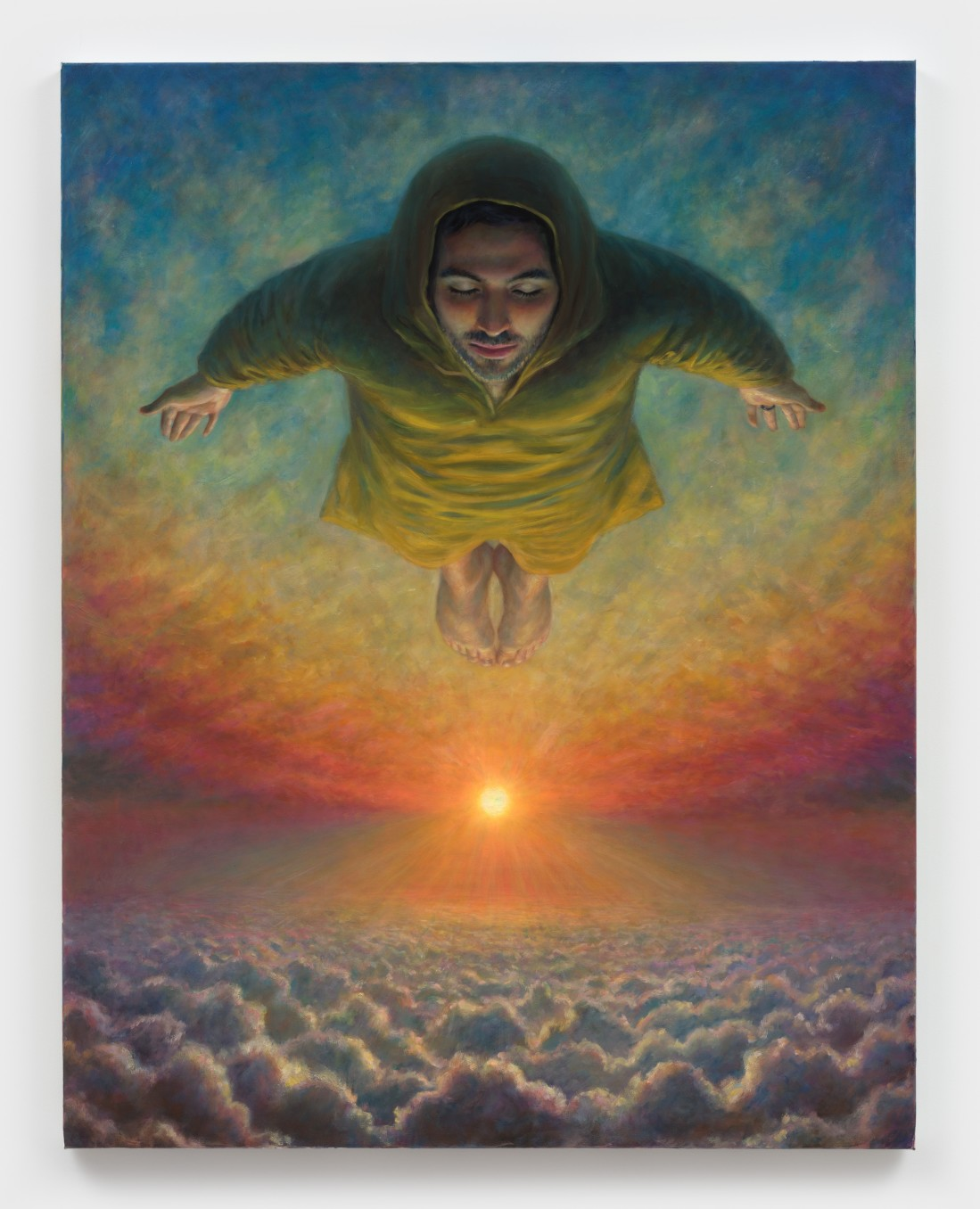 TM Davy, flying dream (self and sun), 2020, Oil on linen, 116.8 x 91.4 cm, 46 x 36 in