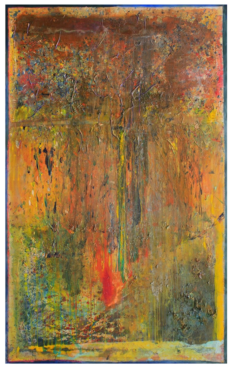 Frank Bowling, Green Borders, 2011, Oil and acrylic on collaged canvas, 304.8 x 190.5 cm, 120 x 75 in