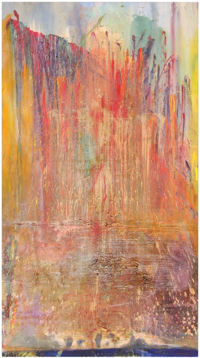 Frank Bowling, Ashton'splunge, 2011, Acrylic paint and acrylic gel with mixed media on collaged canvas, 302.5 x 165.5 cm, 119 1/8 x 65 1/8 in
