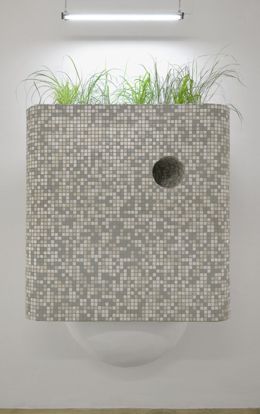 Rachael Champion, Mountain Flattening Initiative, 2014, Glass mosaic tiles, plaster, grasses, and soil, 264 x 132 x 61 cm, 104 x 52 x 24 1/8 in