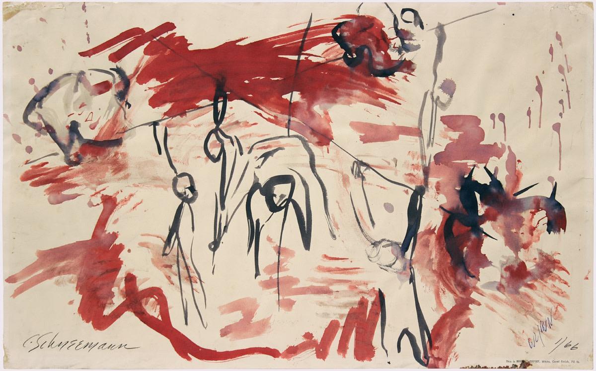 Carolee Schneemann, Water Light/Water Needle Diagram 1, 1966, watercolour on paper, Framed: 38 x 57 x 3 cm, 22 1/2 x 15 x 1 1/8 in, Unframed: 12 1/4 x 19 3/4 in, 31.12 x 50.17 cm