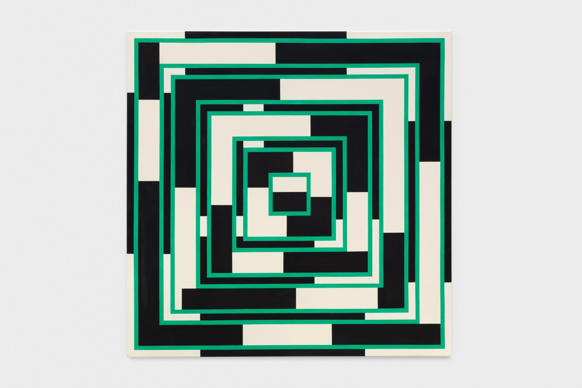 Mary Webb Cream, black and emerald, 1972 Oil on canvas 190.5 x 190.5 cm 75 x 75 in