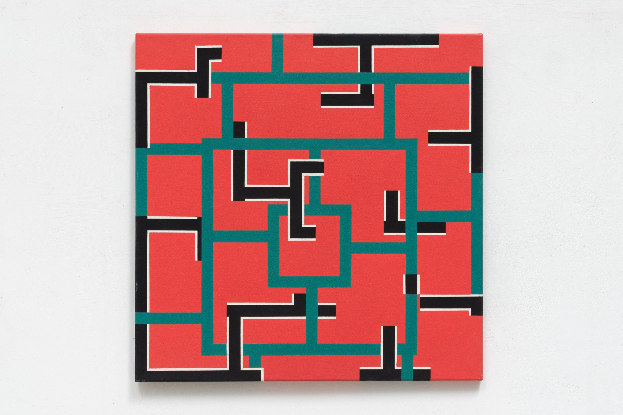 Mary Webb Red, green, black and white, 1976 Oil on canvas  71 x 71 cm 28 x 28 in