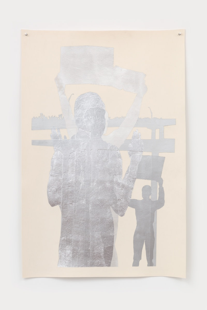 Andrea Geyer Resonant #101, 2021 Wool felt, acrylic paint, aluminum leaf, and wax 190.8 x 126.7 cm 75 1/8 x 49 7/8 in
