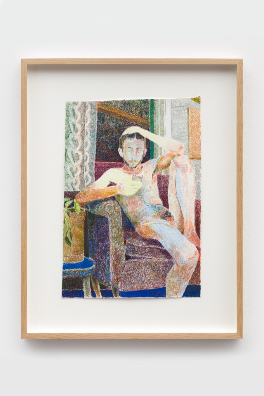 Anthony Cudahy Ian reading the news, 2021 Colored pencil on paper Image: 35.6 x 25.4 cm 14 x 10 in...