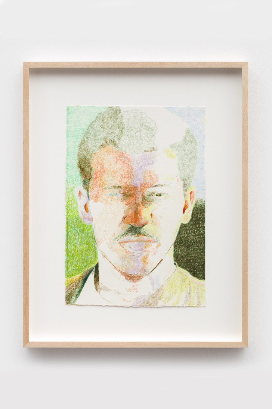 Anthony Cudahy Green gaze, 2021 Colored pencil on paper Image: 35.6 x 25.4 cm 14 x 10 in Frame: 50.4...