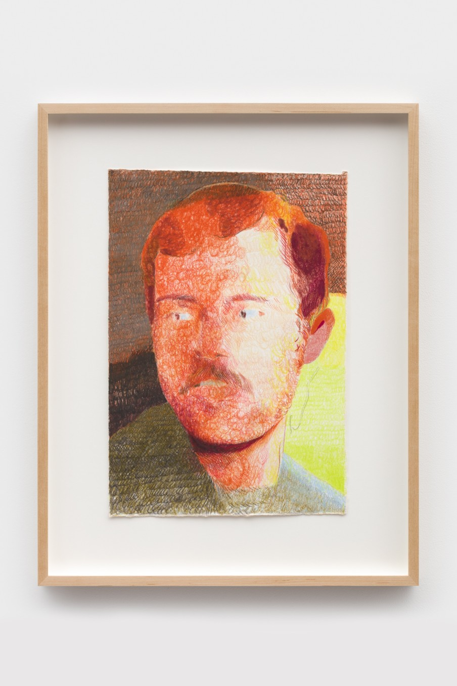 Anthony Cudahy Orange gaze, 2021 Colored pencil on paper Image: 35.6 x 25.4 cm 14 x 10 in Frame: 50.4...