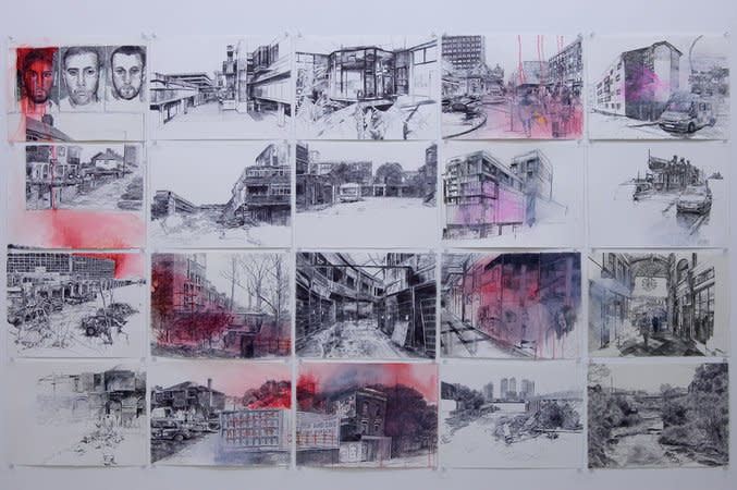 Laura Oldfield Ford, 1973 returning, 2008, ball-point pen, felt-tip pen and acrylic on watercolour paper 20 unframed drawings, 114 x 192.5 cm, 44.92 x 75.85 in, each: 28.5 x 38.5 cm