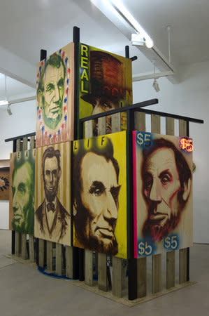 Installation view of Ross Sinclair in The Freedom Centre 'This show will change your life!' at Hales London