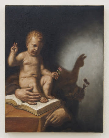 Filippo Caramazza, The Infant Christ Casting Shadows (After Guercino), 2009, Oil on linen, 23 x 18 cm, 9.06 x 7.09 in