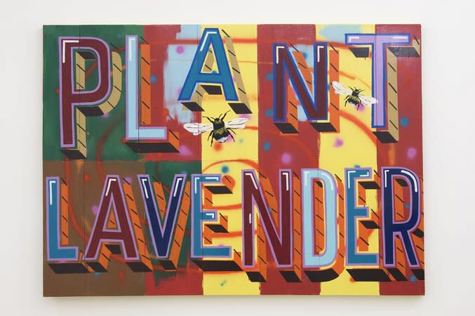 BOB AND ROBERTA SMITH, Plant Lavender, 2009, Signwriters paint on board, 140 x 195.5 cm, 55.16 x 77.03 in