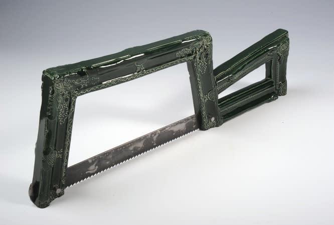 Richard Slee, Junior Hacksaw, 2010, Glazed ceramic with steel blade, 57 x 20.5 cm, 22.46 x 8.08 in