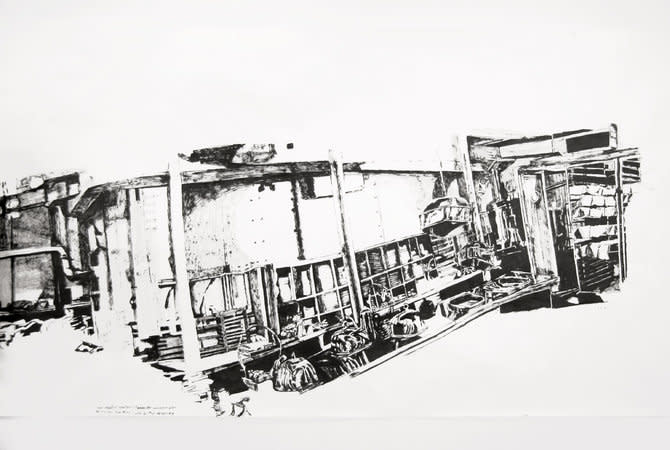 DAWN CLEMENTS, First Class (A Night to Remember, 1959), 2006, Sumi ink on paper, 165 x 985 cm, 65.01 x 388.09 in