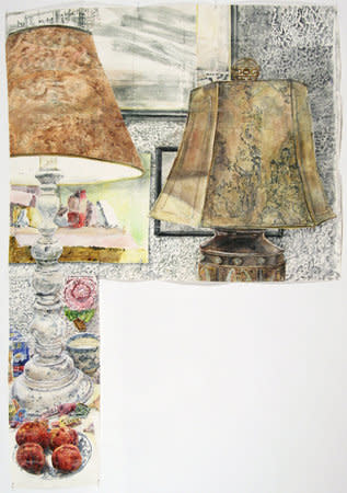 DAWN CLEMENTS, Lamps (Color), 2010, sennelier ink on paper, 203 x 140 cm, 79.98 x 55.16 in