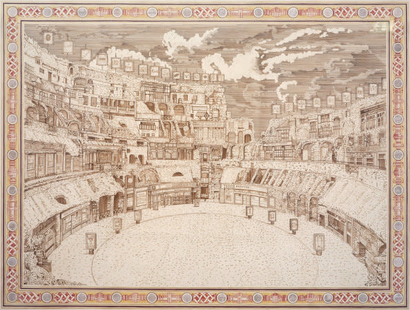 Adam Dant, Bread and Circuses, 2010, ink and photographs on paper, 256.5 x 200.5 cm, 101.06 x 79 in
