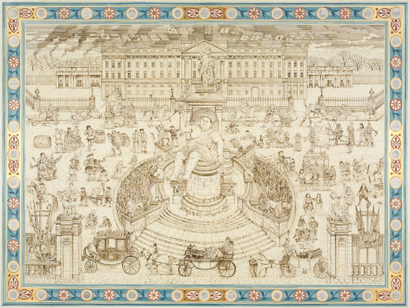 Adam Dant, Royal Drinking, 2010, Ink on paper, 256.5 x 200.5 cm, 101.06 x 79 in