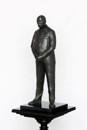 Thomas J Price, Midnight Temple (Figure 1, Astoria Walk), 2011, Bronze, Perspex and wooden base, 179.5 x 36 cm, 70.72 x 14.18 in