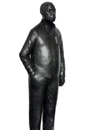 Thomas J Price, Man on a Horse (Kings Avenue), 2011, Bronze, Perspex, and wooden base, Overall dimensions: 168 x 36 x36 cm, 66.19 x 14.18 in