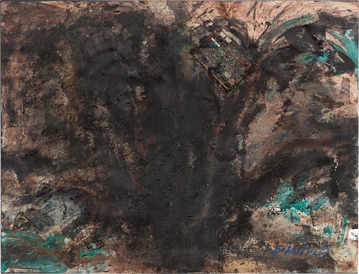 Detail of Carolee Schneemann, Untitled (Black work I from Dust series), 1988, Ink, ashes, acrylic, string, vegetable-dye, and circuit-board on heavy rag paper, 96.5 x 127 cm, 38 x 50 in, Framed: 108.5 x 138.5 x 10.3 cm, 42 3/4 x 54 1/2 x 4 1/8 in