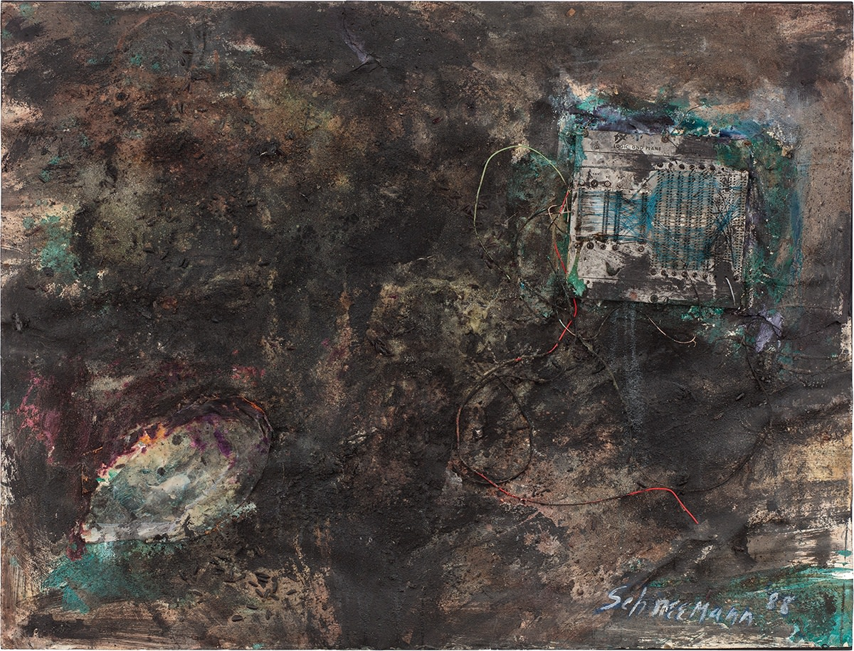 Detail of Carolee Schneemann, Untitled (Black work II from Dust series), 1988, Ink, ashes, acrylic, string, vegetable-dye, and circuit-board on heavy rag paper, 96.5 x 127 cm, 38 x 50 in, Framed: 108.3 x 138 x 8.5 cm, 42 5/8 x 54 3/8 x 3 3/8 in