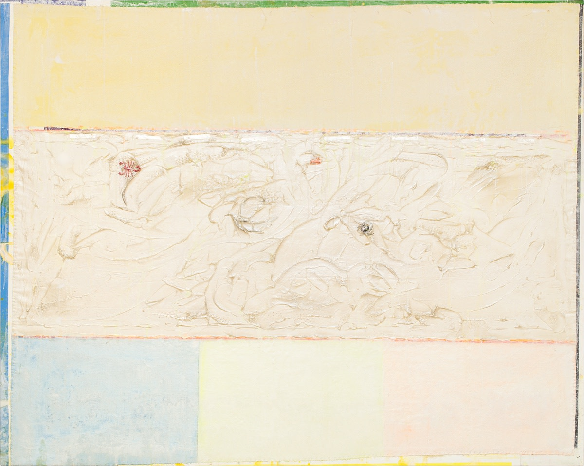 Frank Bowling, Ashton's Swirl I, 2016, Acrylic and plastic additions on collaged and printed canvas, 147.3 x 185.4 cm, 58 x 73 in