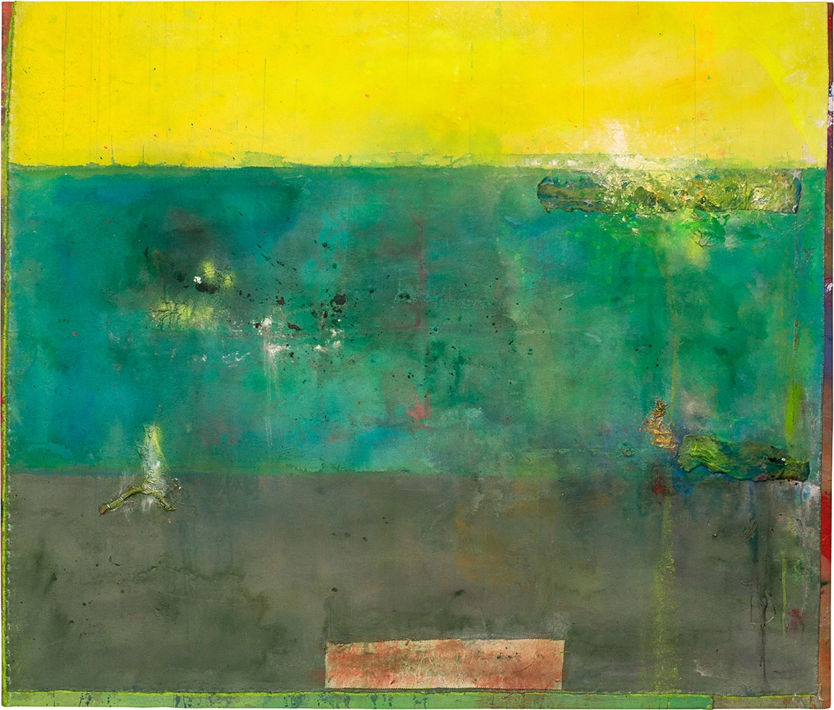 Frank Bowling, Diver, 2016, Acrylic on collaged canvas, 158.9 x 186.5 cm, 62 1/2 x 73 3/8 in