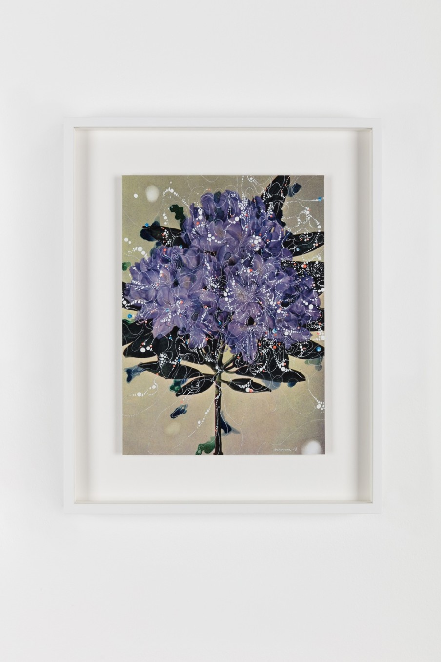 Sebastiaan Bremer, Rhododendron Catawbiense Boursault Sophie, 2018, Archival inkjet pigment print on resin coated paper with hand additions in acrylic, photo retouch dye, and pigment pen, 27.9 x 20.3 cm, 11 x 8 in, Framed: 38.6 x 31.1 x 3.7 cm, 15 1/4 x 1