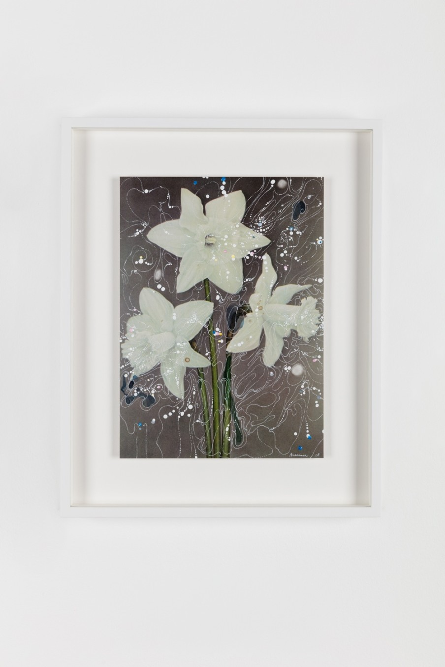 Sebastiaan Bremer, White Trumpet Daffodil Beershebas, 2018, Archival inkjet pigment print on resin coated paper with hand additions in acrylic, photo retouch dye, and pigment pen, 27.9 x 20.3 cm, 11 x 8 in, Framed: 38.6 x 31.2 x 3.7 cm, 15 1/4 x 12 1/4 x