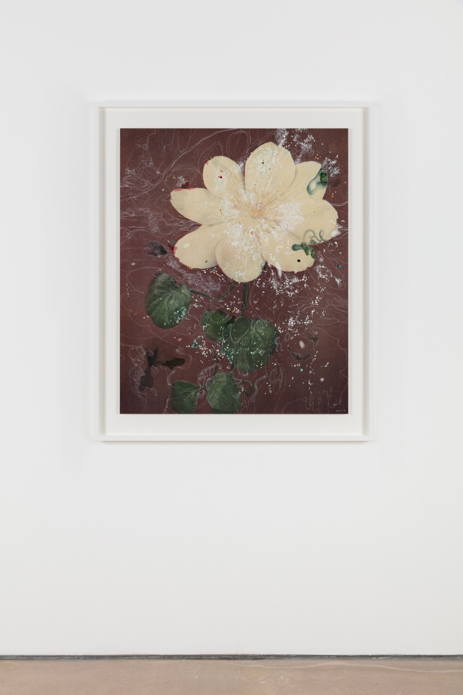 Sebastiaan Bremer, Clematis Hybrid Mevr. Le Feher Coutre, 2018, Archival inkjet pigment print on resin coated paper with hand additions in acrylic, photo retouch dye, and pigment pen, 108 x 86.4 cm, 42 1/2 x 34 1/8 in, Framed: 127.2 x 105.5 x 5 cm, 50 1/8