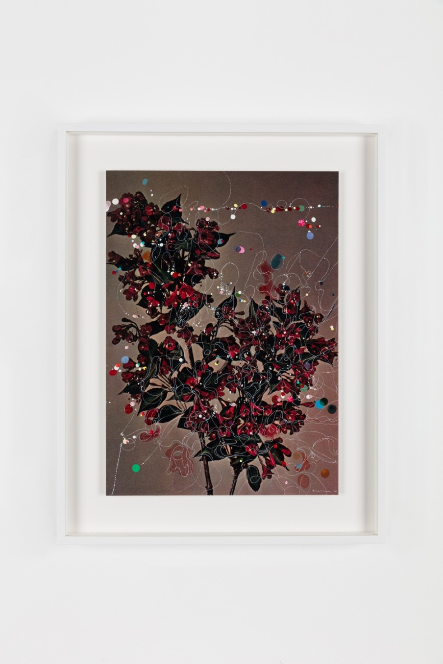 Sebastiaan Bremer, Diervilla Eva Rathke, 2016, Unique hand-painted chromogenic print with hand additions in acrylic, photo retouch dye, and pigment pen, 39 x 28 cm, 15 3/8 x 11 1/8 in, Framed: 49.8 x 38.9 x 3.8 cm, 19 5/8 x 15 1/4 x 1 1/2 in