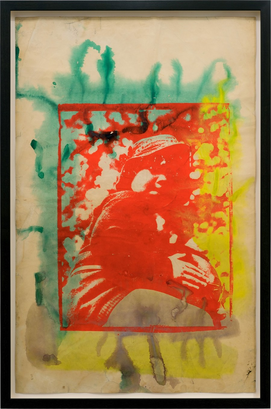 Frank Bowling, His Mother's Call, 1967, Screenprint and acrylic paint on paper, 58.2 x 90.8 cm, 22 7/8 x 35 3/4 in, Framed: 98 x 65 x 5.1 cm, 38 5/8 x 25 5/8 x 2 1/8 in