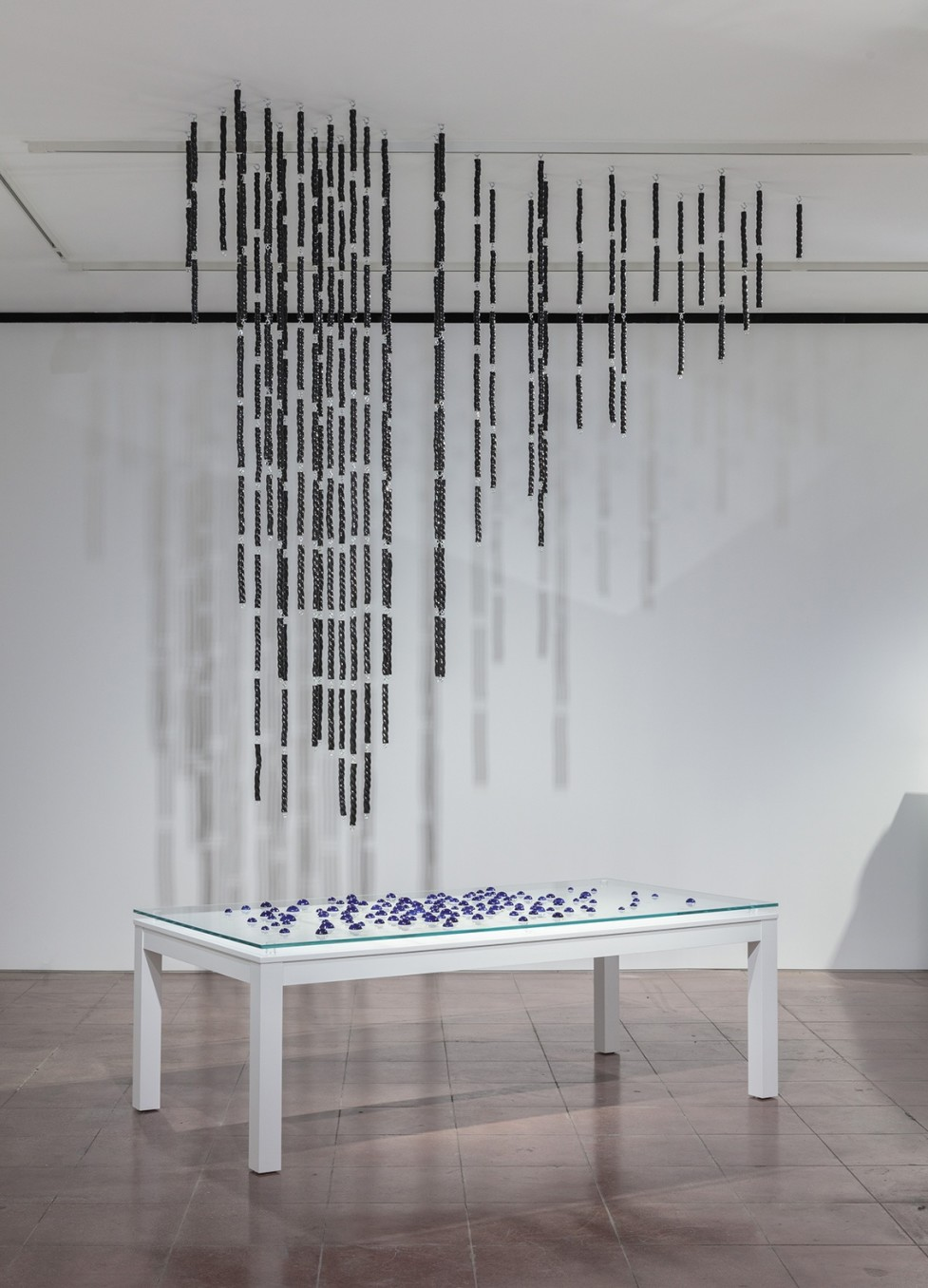 Richard Slee, Rope Rain, 2010, Glazed ceramic with metal hook and eyes in two hundred and twenty four strands and one hundred and twenty nine droplets.