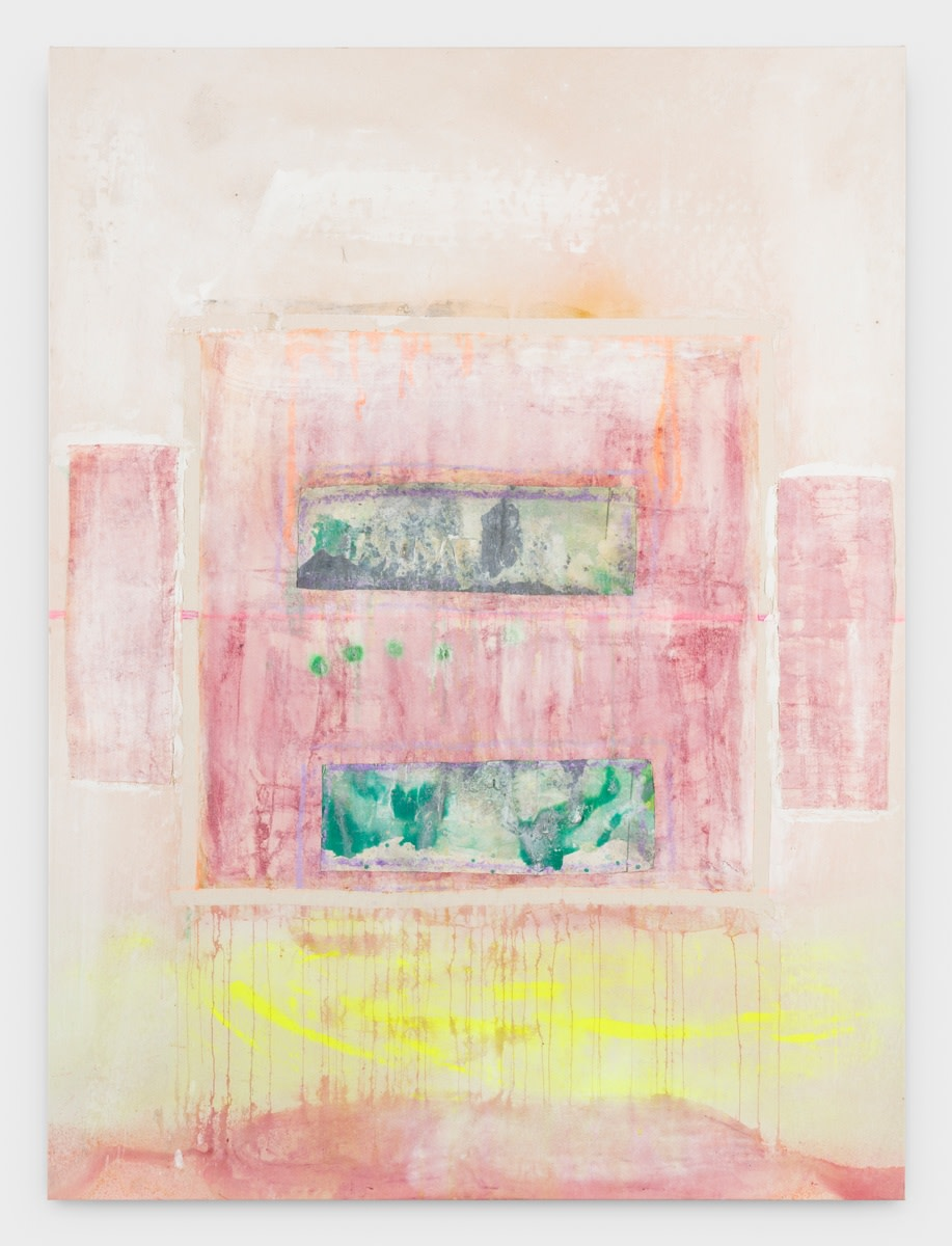 Frank Bowling, Sacha's Green, 2016, Acrylic on collaged canvas, 167.8 x 124.3 cm, 66 1/8 x 49 in, Framed: 174 x 132.1 cm, 68 1/2 x 52 in