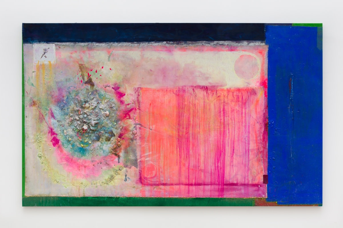 Frank Bowling Circle & Square Pink & Blue 4 Rachael 2, 2019 Acrylic paint and acrylic gel with glass additions...