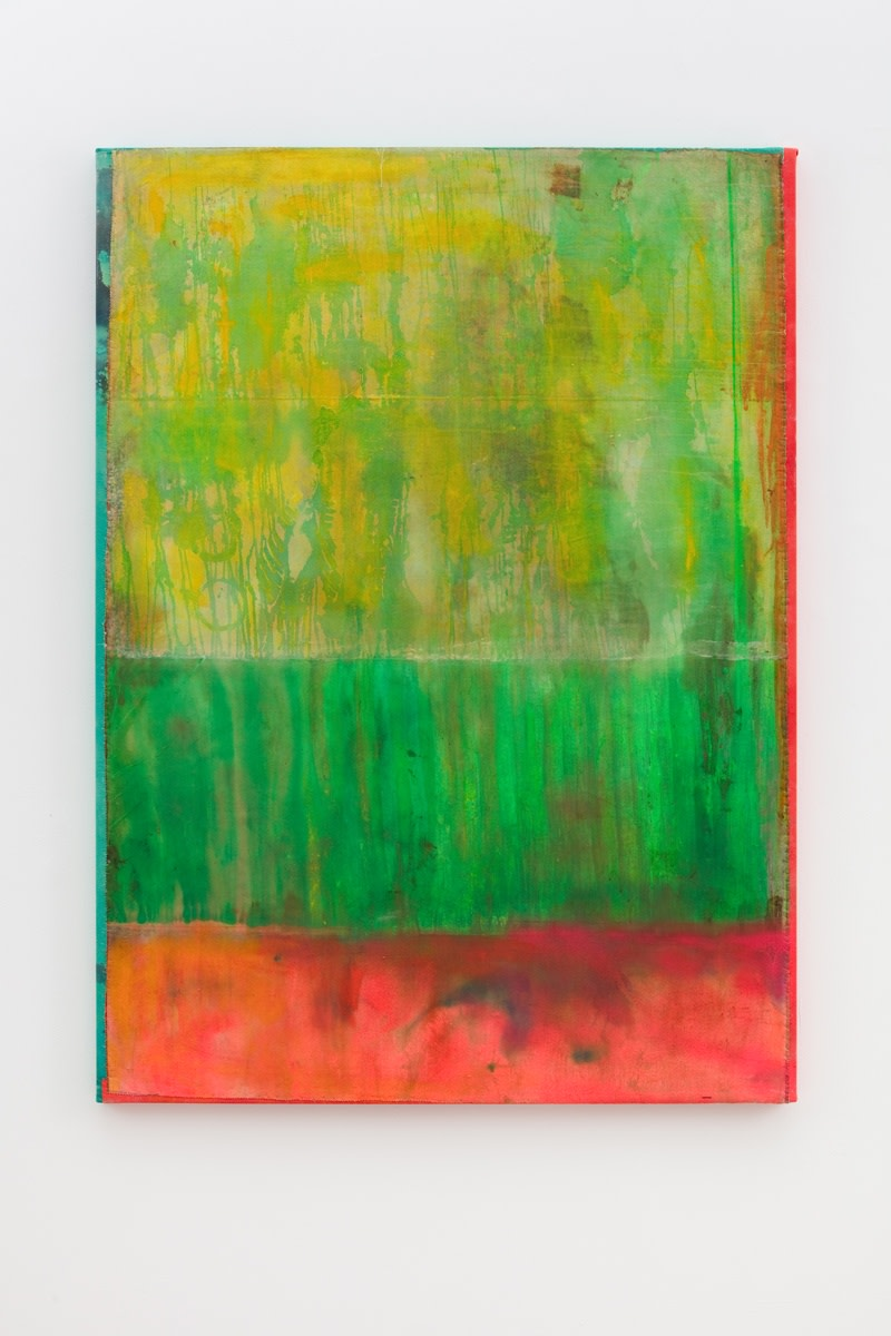 Frank Bowling Green Valley, 2018 Acrylic on collaged canvas 170.7 x 125 cm 67 1/4 x 49 1/4 in