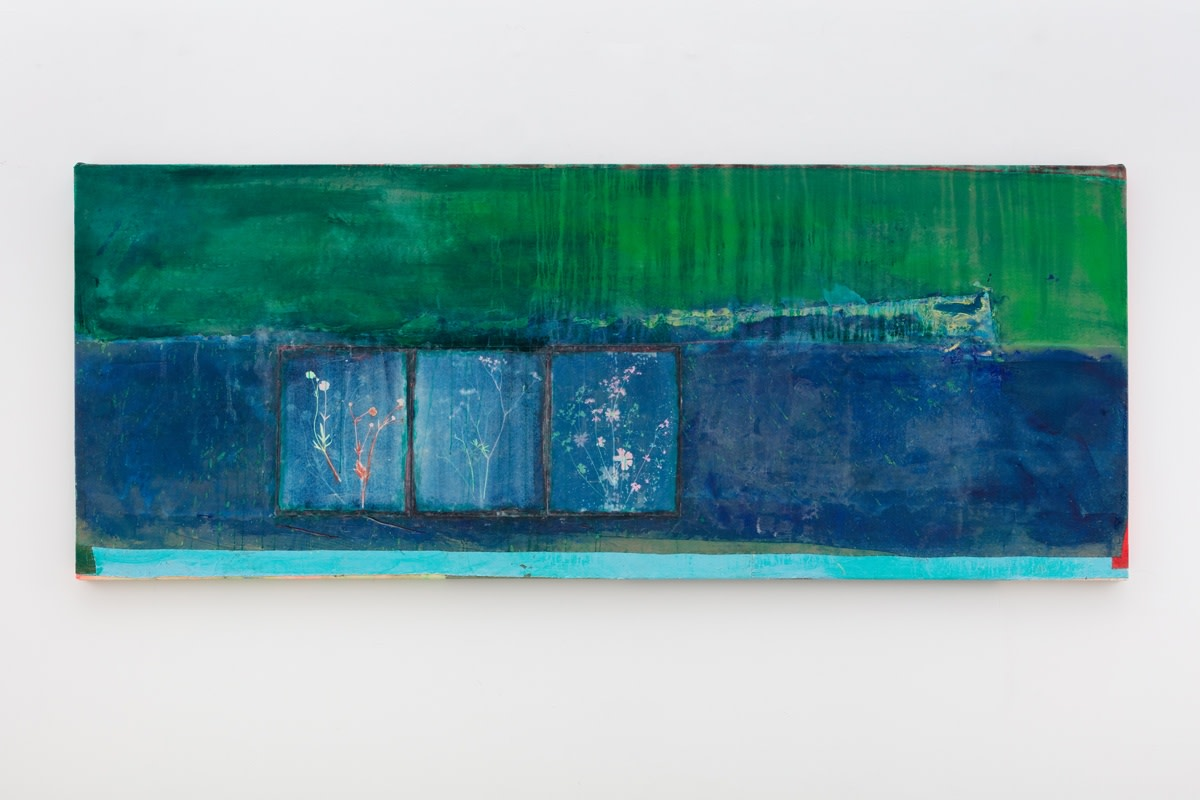 Frank Bowling Green Valley with Kasia's sprigs, 2018 Acrylic on collaged canvas 100.3 x 252.8 cm 39 1/2 x 99...